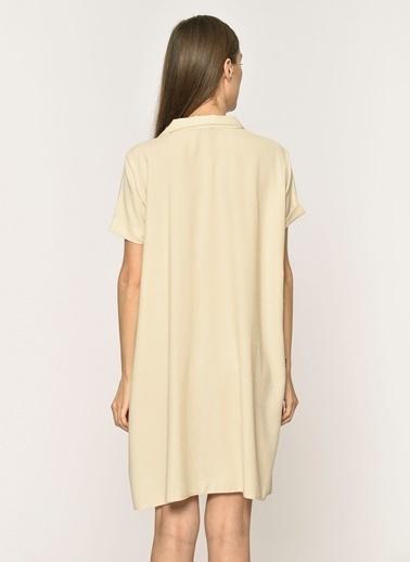 Loves You Düğmeli Krinkıl Gömlek Elbise Bej
